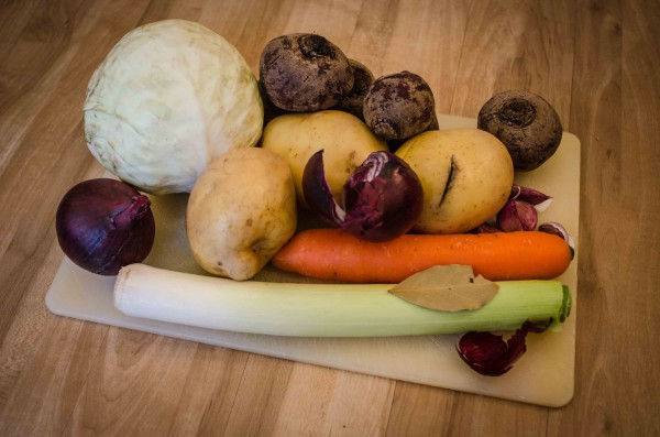 The raw ingredientes for vegetable Borscht