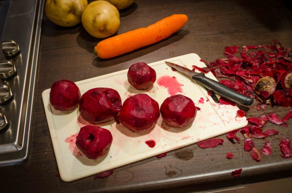 Peeling and chopping the beetroots is the messiest bit and makes your hands really red