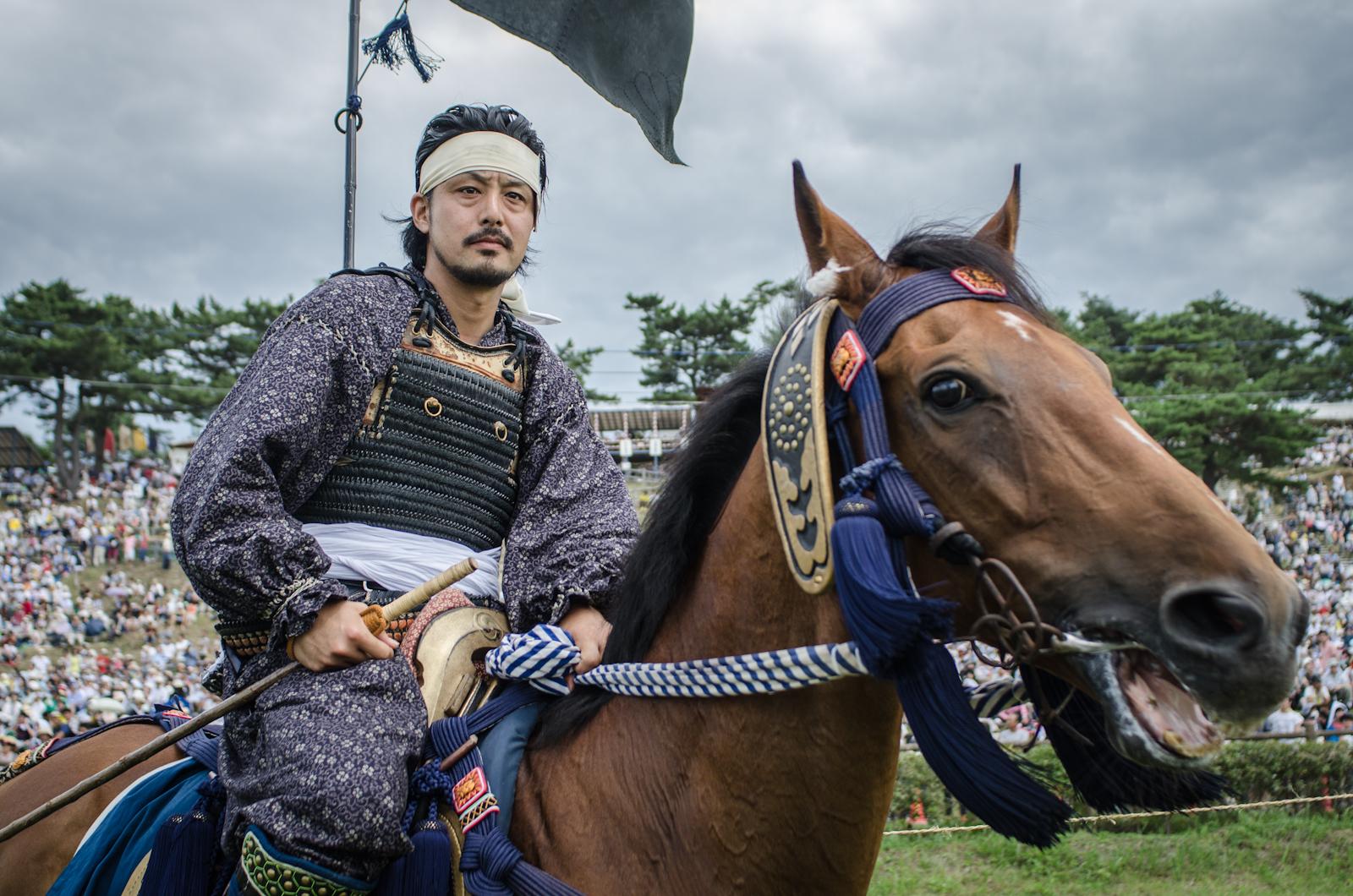 A Samurai warrior at the  Soma Nomaoi horse festival held near the Fukushima Exclusion Zone in Japan