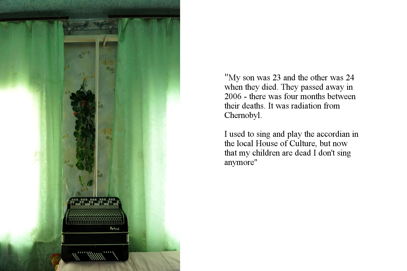 An accordion photographed in the home of a bereaved mother near the Chernobyl Exclusion Zone