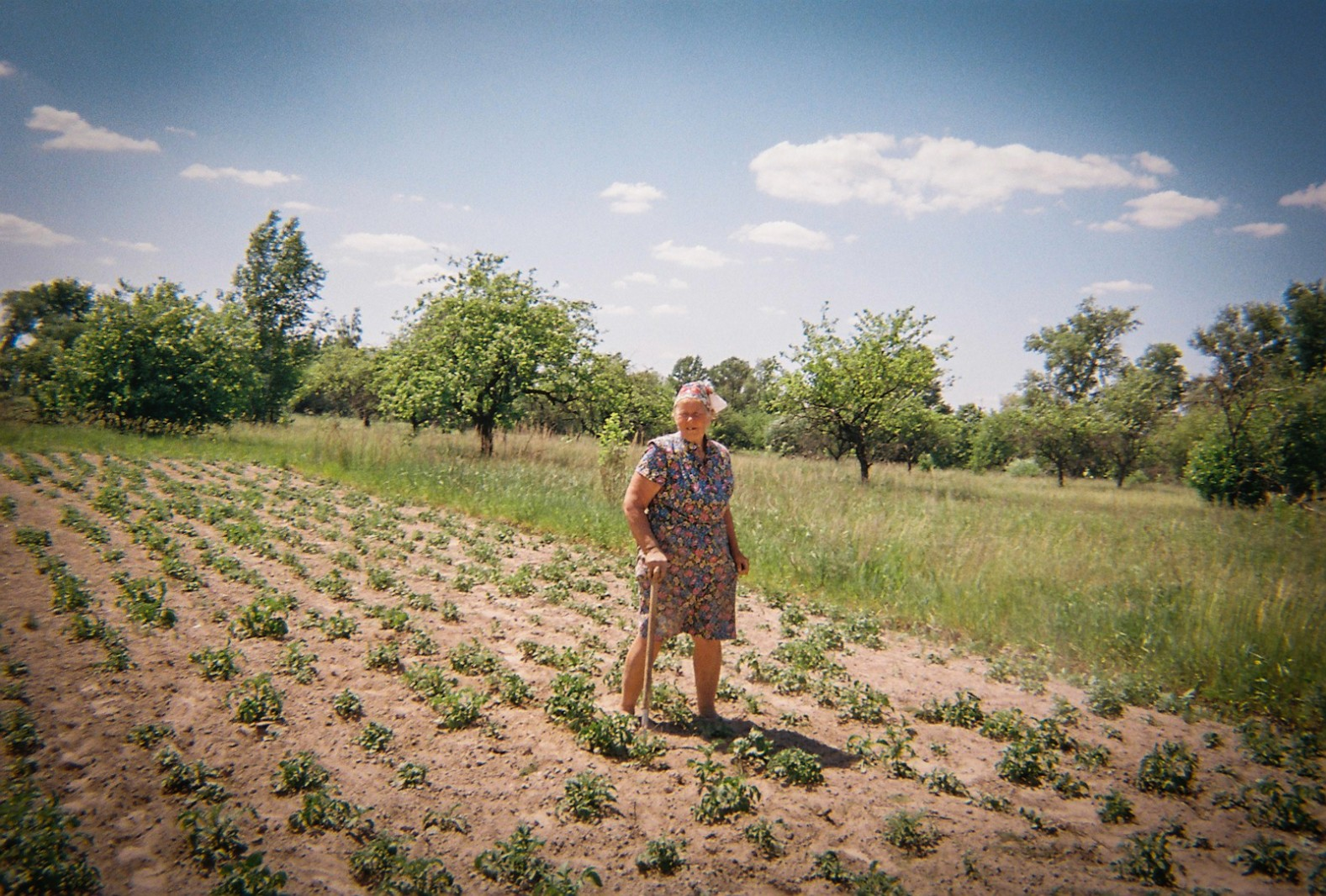 A woman stands in her field near the fence around the Exclusion Zone