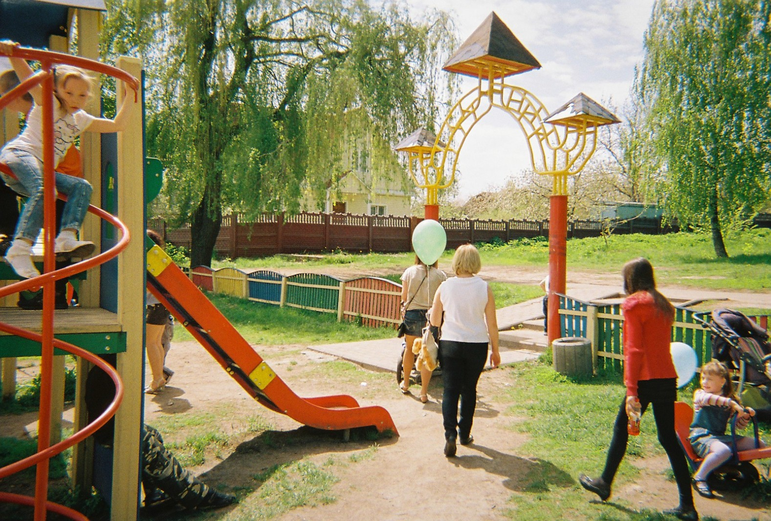 Children play in a park in Ivankiv, the administrative centre of the Chernobyl region