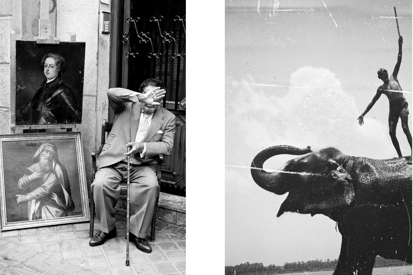A man selling portraits in Madrid and a damaged negative from Nepal